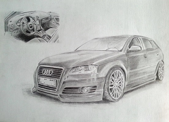 Autozeichnung - Zeichnung eines Audi A3