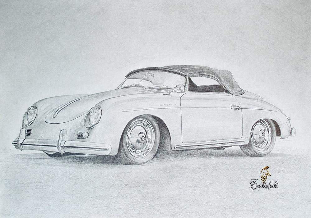 Autozeichnung - Zeichnung Porsche 356