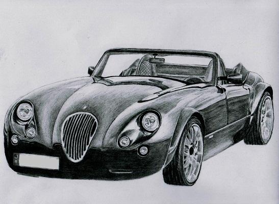 Autozeichnung - Zeichnung eines Wiesmann Roadster