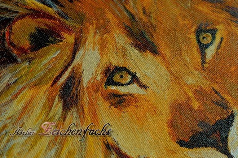 Löwe mit Acryl gemalt