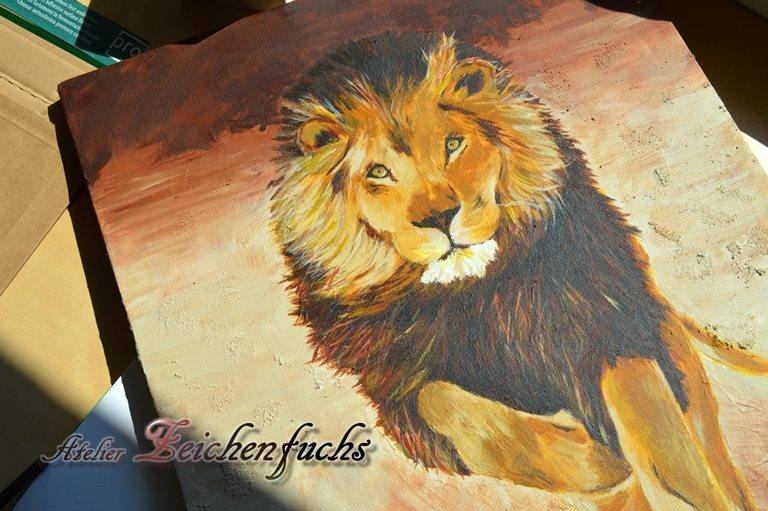 Acrylgemälde eines Löwen