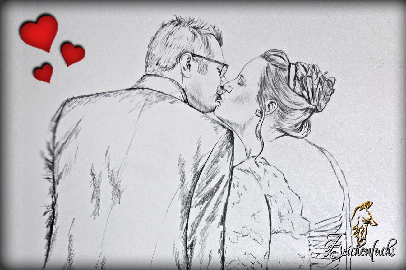 Bleistiftzeichnungen zum Valentinstag